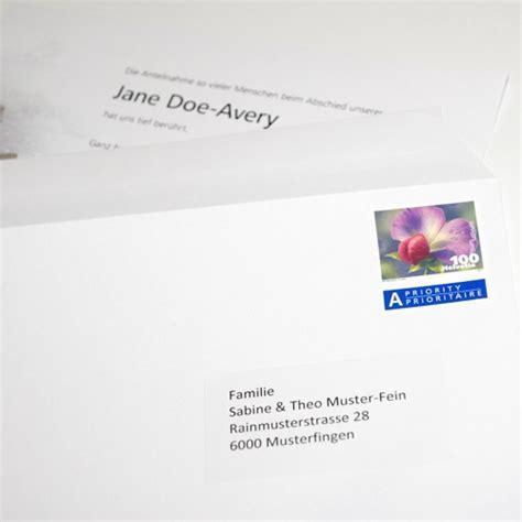 Brief Einschreiben Schweiz Muster Trauerkarten Danksagungskarten Leidzirkulare Todesanzeigen