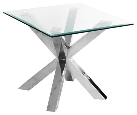 glass and chrome side table contemporary glass chrome l side table mulberry moon
