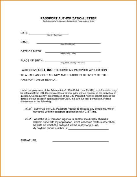 authorization letter passport application authorization letter for passport authorization
