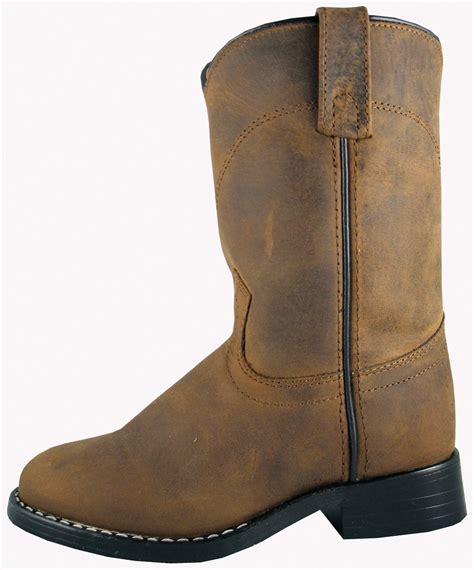 smoky mountain boots youth boys roper brown leather cowboy