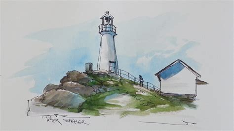 Watercolor Lighthouse Tutorial | pen and wash watercolor tutorial cape spear lighthouse by