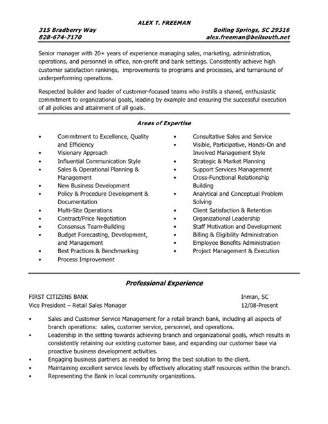 Resume Sles For Administrative Professionals Resume Of Alex Freeman Operations Manager Administrative Manager S
