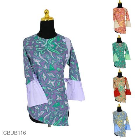 Baju Batik Batik Ayusari Blus Batik Lonceng Asmad blus tanggung lonceng katun motif pisang blus lengan tanggung murah batikunik