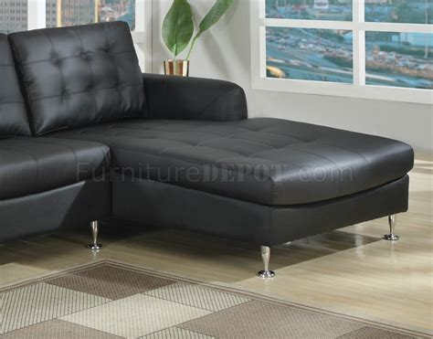 sofa with chrome legs black bonded full leather modern sectional sofa w chrome legs