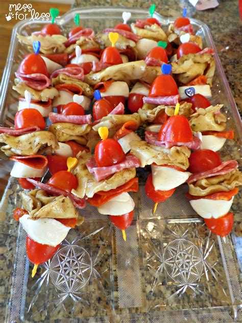 kid friendly italian appetizers italian appetizers tortellini salad skewers mess for less