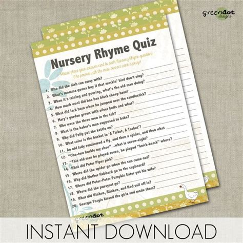 Nursery Rhymes Baby Shower by Instant Nursery Rhyme Quiz Baby Shower