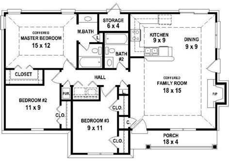 3 bedroom 2 bath house floor plans 653626 3 bedroom 2 bath house plan less than 1250