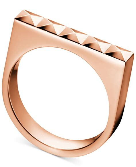 Calvin Klein Rantai Rosegold lyst calvin klein gold tone pvd finished stainless steel stud ring in metallic