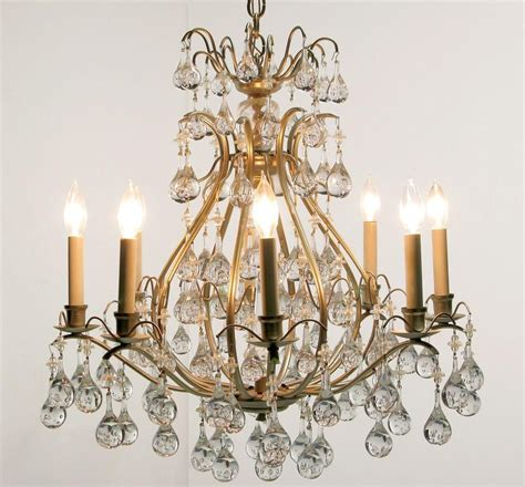 Brushed Nickel Chandelier With Crystals Brushed Nickel And Raindrop Crystals Eight Arm