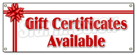 Gift Cards Available - gift certificates available banner sign signs holiday birthday cards