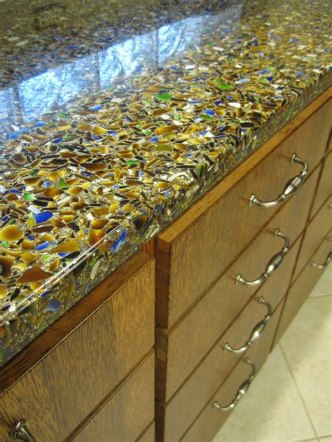 recycled countertop materials vetrazzo charisma blue recycled glass countertop warm