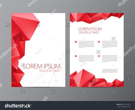 Abstract Vector Modern Flyer Brochure Design Templates With Red Geometric Triangular Design Templates