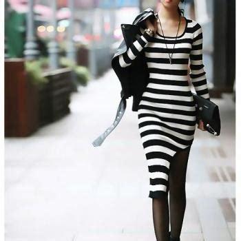 Hem Asia Black asymmetrical hem black and white stripes sleeve dress