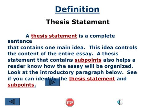 qualities of a thesis statement thesis statement ppt
