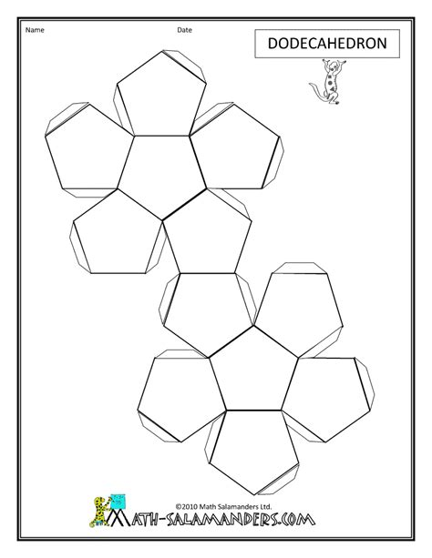 geometry net templates 3d geometric shapes dodecahedron net tabs geometric