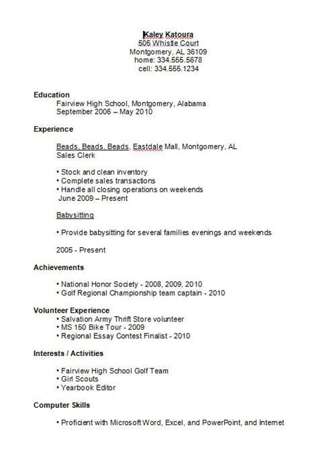 Resume For High School by 17 Best Ideas About High School Resume Template On Resume Exles Student
