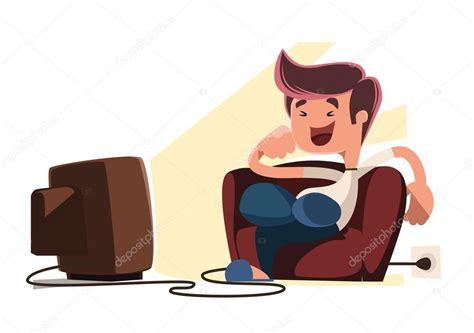 imagenes animadas viendo tv hombre viendo el personaje de dibujos animados de