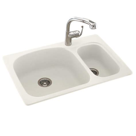 small bowl kitchen sink swan dual mount composite 33 in 1 large small bowl kitchen sink in bisque ks03322ls