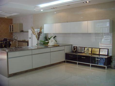 China Mordern White Kitchen Cabinet Tempered Glass Door