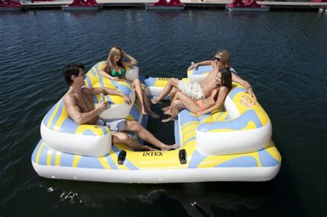 intex oasis island inflatable lake river seated floating