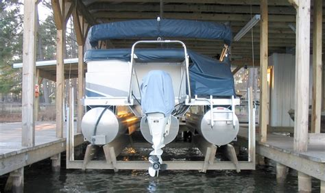 pontoon boat house pontoon cradle center kit for wood mounting boat lift warehouse usa