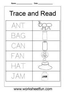 kindergarten word tracing worksheets alphabet words