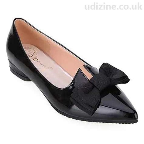 ladylike s flat shoes with patent leather bow black