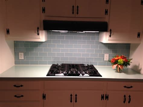 glass subway tile projects before after pictures vapor glass kitchen backsplash before after subway