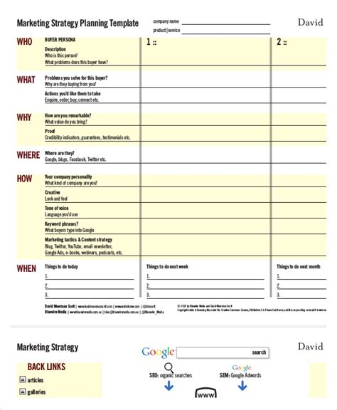 Marketing Strategy Template 11 Free Sle Exle Format Free Premium Templates Template For Marketing Plan
