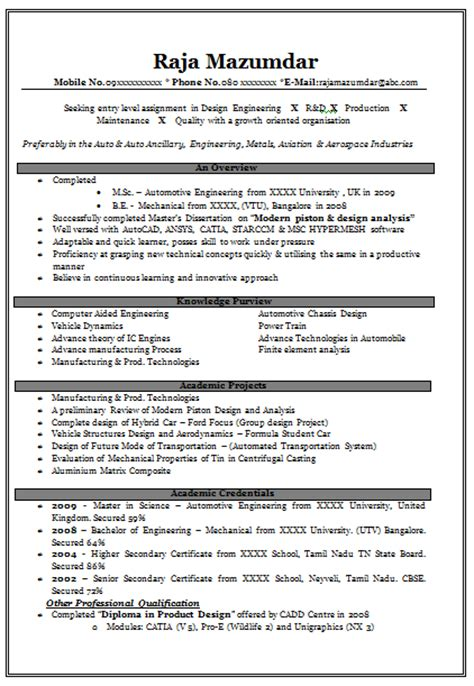 resume format for mechanical engineers freshers 10000 cv and resume sles with free