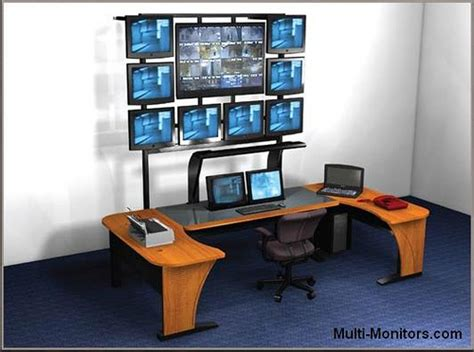 3 monitor chair multiple screen computer workstation desktop desk and