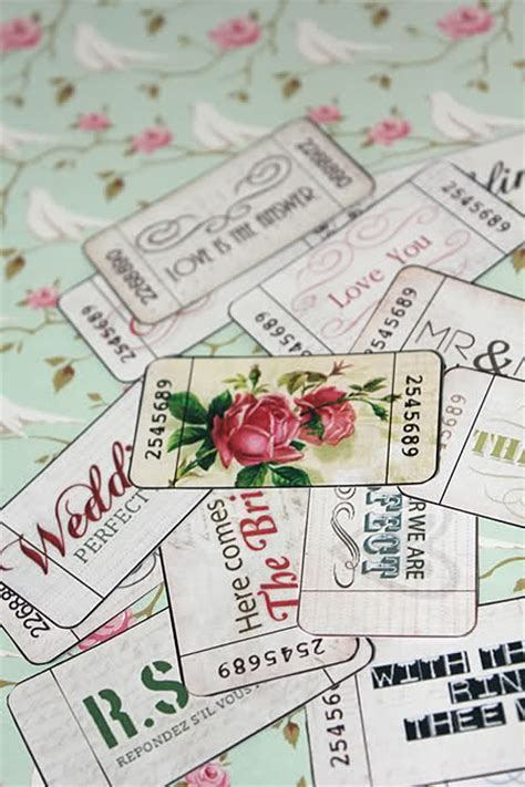 Free printable vintage style Wedding tickets