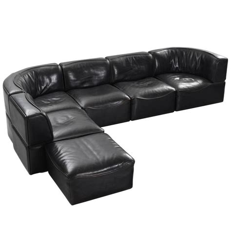 De Sede Ds 15 Modular Sofa In Black Buffalo Leather For Modular Sectional Sofa Leather