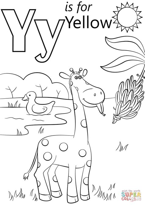 Letter Y Coloring Page by Letter Y Is For Yellow Coloring Page Free Printable