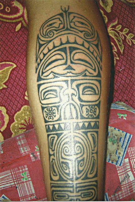 tribal thong tattoo tribal leg big magic koh phangan thailand