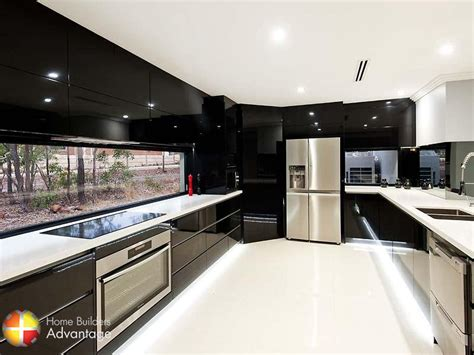 modern style modern style galley kitchen with stone bench tops