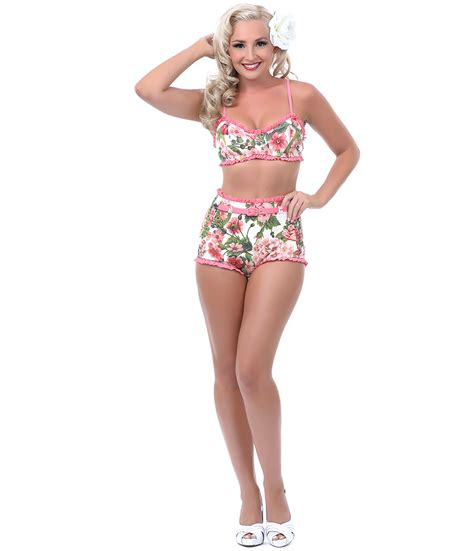 pink amp green floral belted high waist two piece swimsuit
