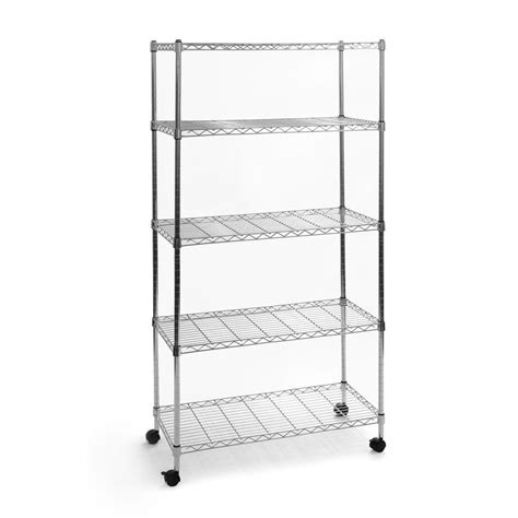 wire shelves home depot seville classics 5 shelf 30 in x 14 in home wire shelving system she14305b the home depot