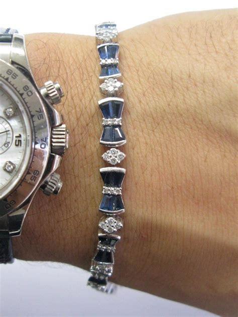 6 50ct Blue Sapphire g 18kt gem blue sapphire white gold tennis 5