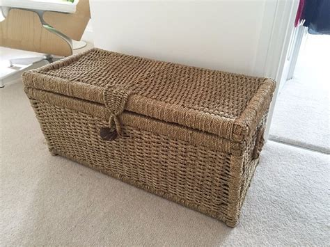 Homebase Wicker Storage Ottoman Chest For Sale In Woven Storage Ottoman