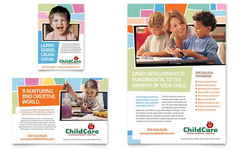 preschool kids day care flyer ad template word