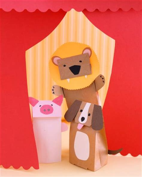 Paper Puppet Crafts - paper bag animal puppets family crafts
