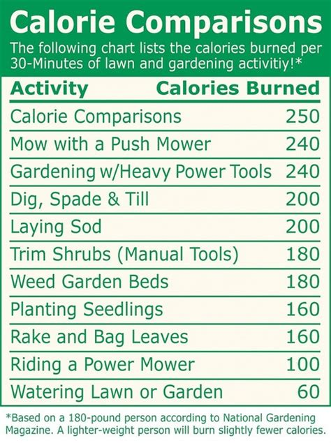 Calories Burned While Gardening 35 best images about caleries on pinterest calorie chart