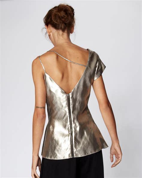 Alona Peplum miller x back blouse in metallic lyst