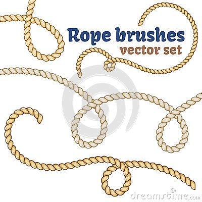 rope pattern brush and ready made rope elements rope brushes set realistic vector design stock vector