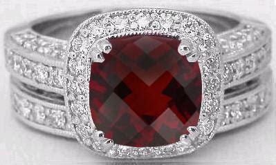 Cushion Cut Garnet And  Ee  Diamond Ee   Halo En Ement Ring And