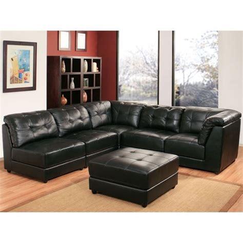 erica  piece top grain leather modular sectional black