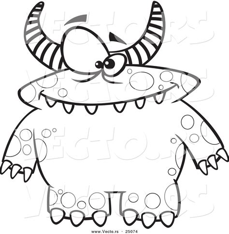 monsters in coloring pages vector of cartoon spotted and horned monster outlined