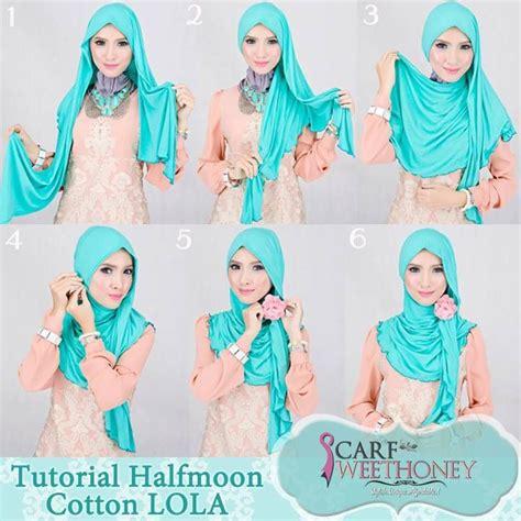 tutorial halfmoon qaira hijab turqoise halfmoon cotton by scaf sweet honey hijab