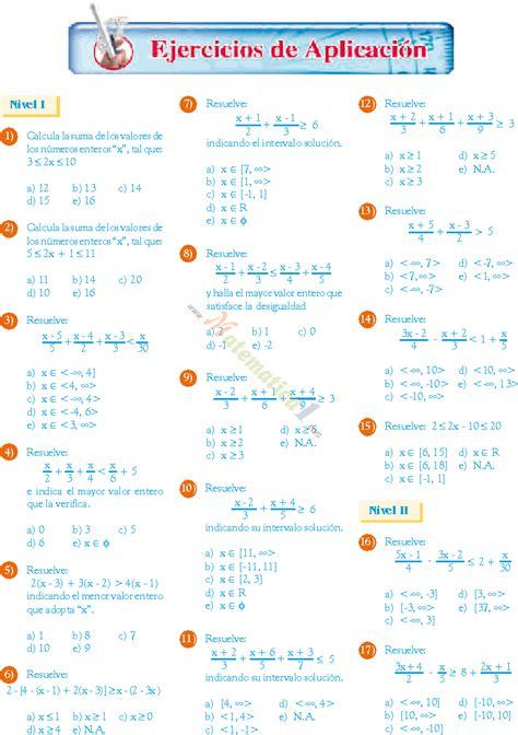 inecuaciones para primer grado primaria inecuaciones de primer grado ejemplos resueltos de
